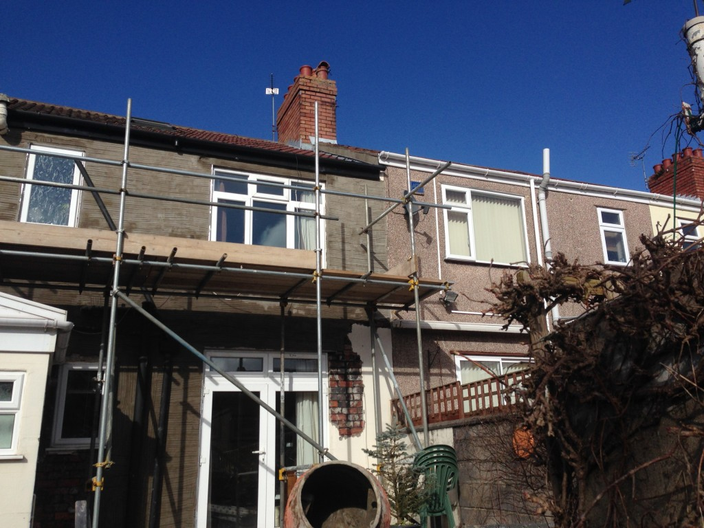 Scaffolding erected ready to apply new external render