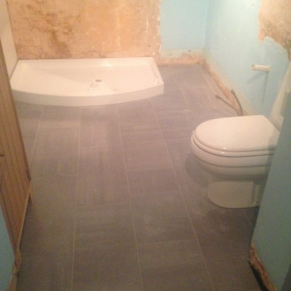 Shower tray and toilet in refurbished bathroom