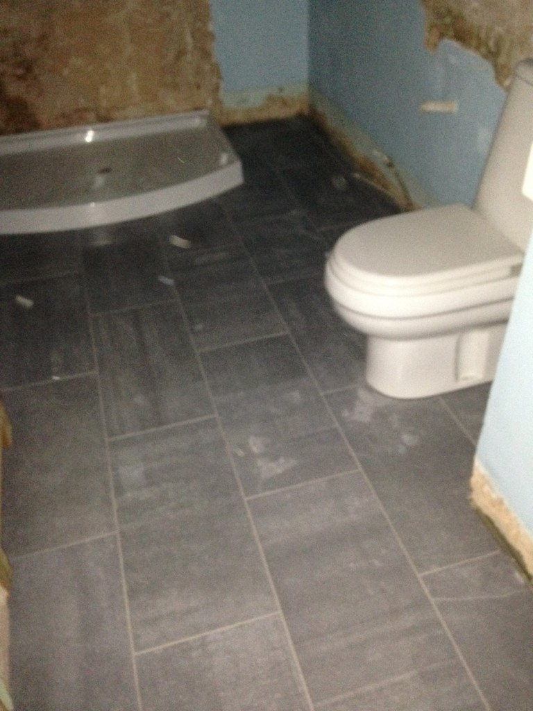 Existing toilet being refitted on top of new tiled floor
