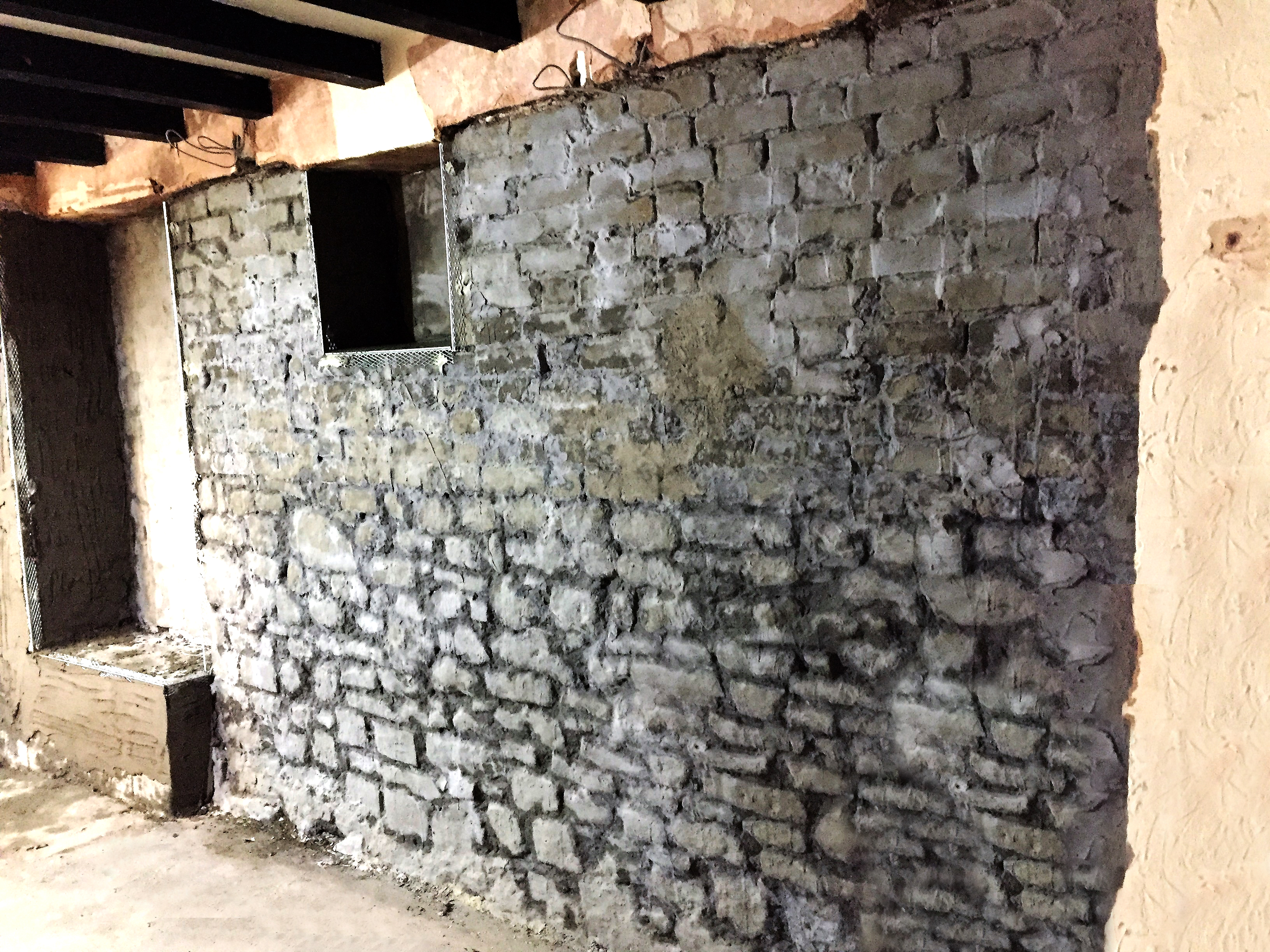 Damp proofing at bristol pub lennon son original plaster and render courses removed before damp proofing begins solutioingenieria Image collections